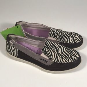 Crocs Walu Zebra Print Loafers Women 9, New